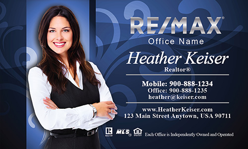 Blue with Elegant Swirls Remax Business Cards - Design #101103