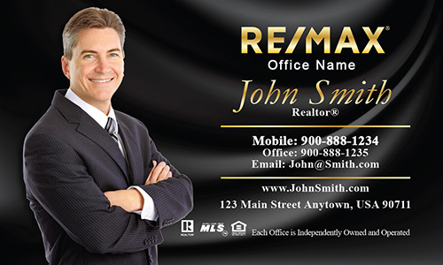 Silky Black Background Remax Business Card with Photo - Design #101143