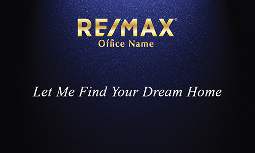 Blue with Gold Remax Logo Realty Business Card - Design #101313