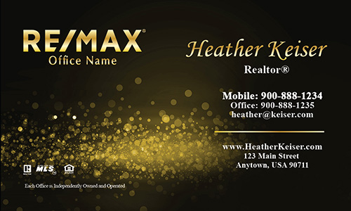 Yellow Glitter Remax Business Card - Design #101433