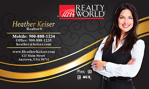Black Realty World Business Card - Design #112051