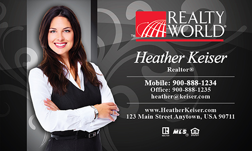 Black Realty World Business Card - Design #112061