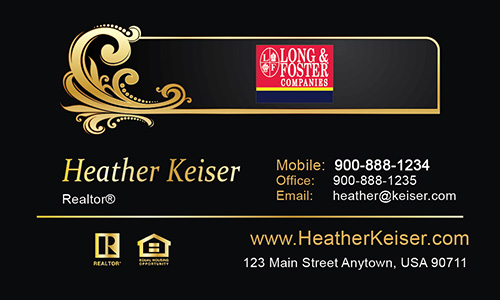 Black Long Foster Business Card - Design #116031