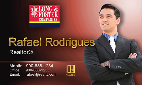 Red Long Foster Business Card - Design #116043