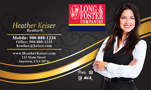 Black Long Foster Business Card - Design #116061