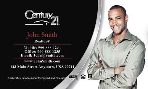 Century 21 Business Card Modern Black And Red Design 102191