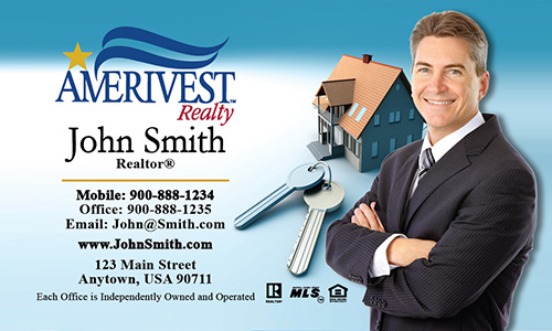 Blue Amerivest Realty Business Card - Design #124011