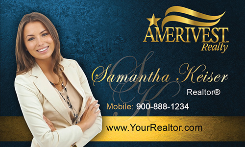Blue Amerivest Realty Business Card - Design #124041