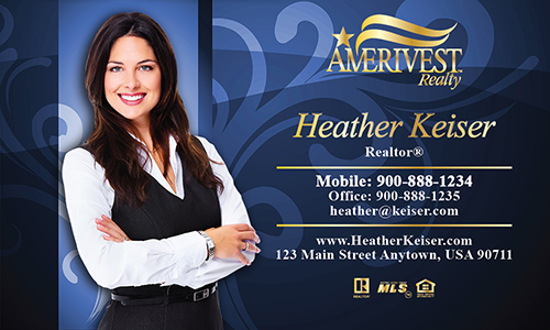 Blue Amerivest Realty Business Card - Design #124052