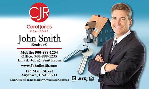 Blue Carol Jones Realtors Business Card - Design #128011
