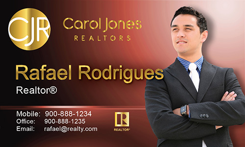 Red Carol Jones Realtors Business Card - Design #128031