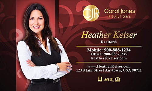 Red Carol Jones Realtors Business Card - Design #128051