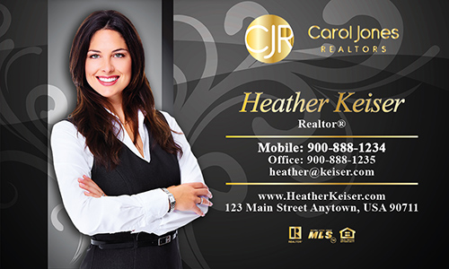 Black Carol Jones Realtors Business Card - Design #128052