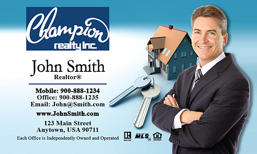 Blue Champion Realty Business Card - Design #130011