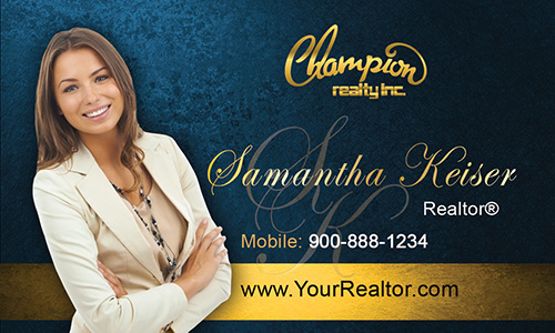 Blue Champion Realty Business Card - Design #130041