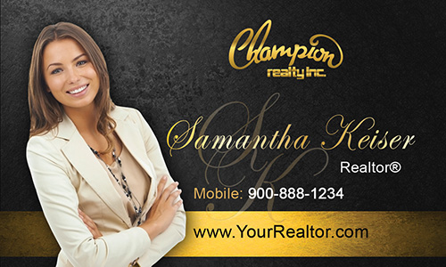 Black Champion Realty Business Card - Design #130042