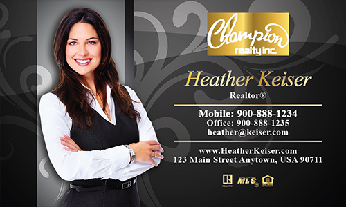 Black Champion Realty Business Card - Design #130061