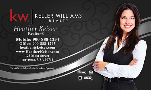 Keller Williams Business Card Black and Silver with Photo - Design #103112