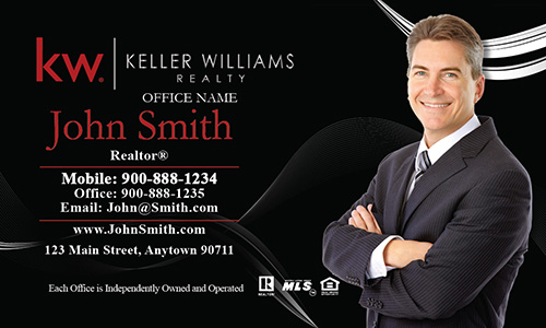 Black Keller Williams Business Card with Agent Head shot - Design #103121