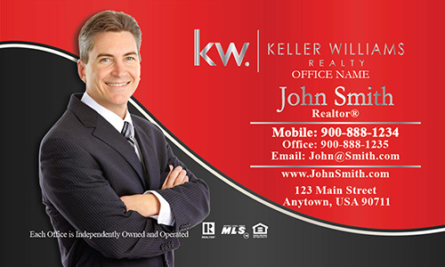 Keller Williams Business Card Professional Red with Personal Photo - Design #103133