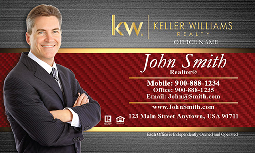 Red and Gold Keller Williams Business Card with Agent Photo - Design #103182