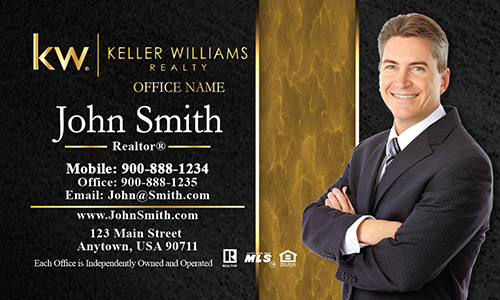 Keller Williams Business Card Modern Black and Gold - Design #103194