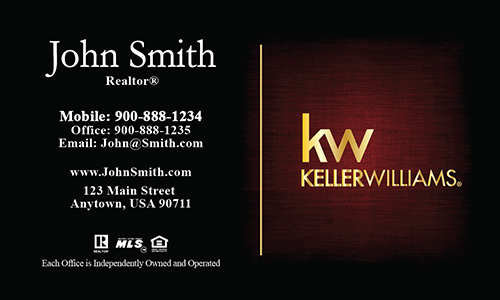 KW Logo Realtor Business Card Dark Red with Gold  - Design #103381