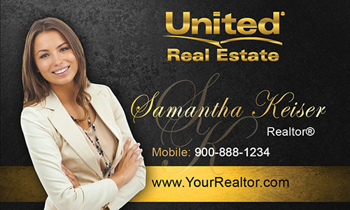 Black United Real Estate Business Card - Design #141042