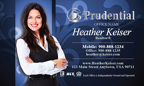 Prudential Business Card Blue with Elegant Swirls - Design #105101