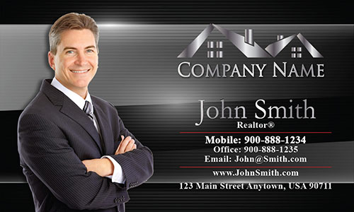 Black Modern Realtor Business Card - Design #106081