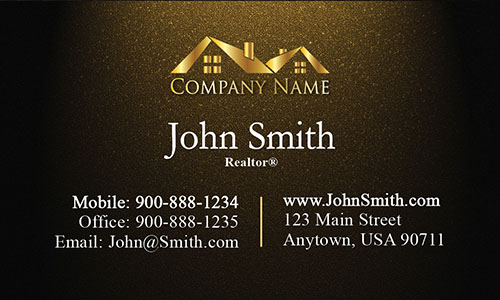 Realty Business Card with Gold Logo - Design #106314