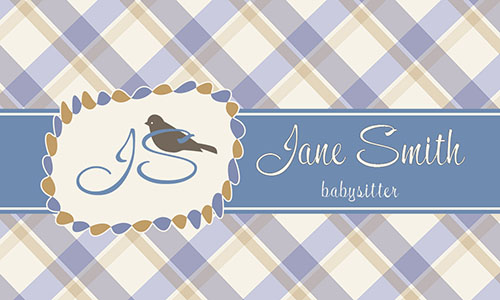 Blue Babysitting Business Card - Design #1101171