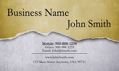 Yellow Personal Business Card - Design #1201293