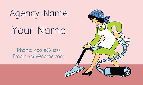 Pink House Cleaning Business Card - Design #1301043