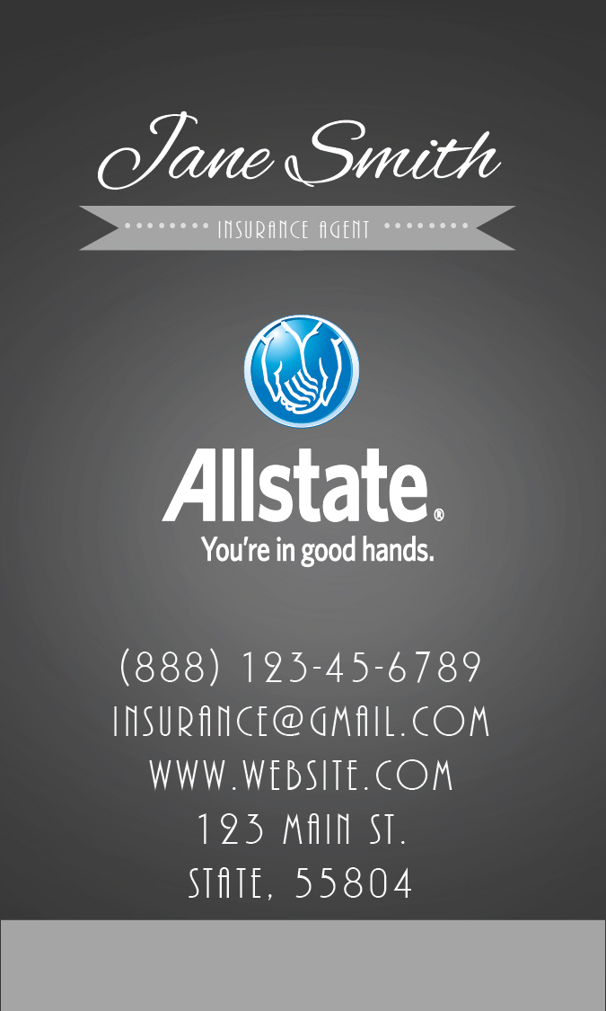 Insurance Agent Business Card | Allstate Agents Card Designs
