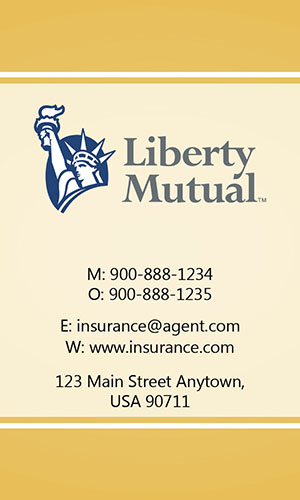 Yellow Liberty Mutual Business Card - Design #207035