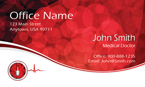 Blood Cells Cardiology Doctor Business Card - Design #301471