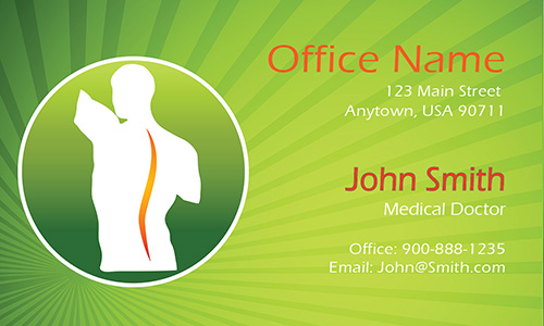 Green Back Pain Doctor Business Card - Design #301511
