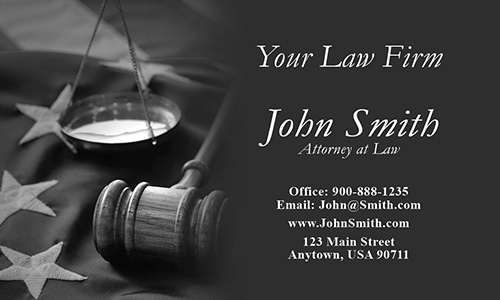 Immigration Lawyer Business Card with American Flag - Design #401201