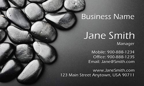 Black Stones Spa Massage Business Card - Design #601021