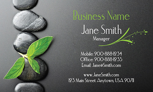Leaf and Stones Massage and Spa Business Card - Design #601051