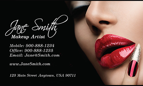 Red Lips Beautician and Makeup Artist Business Card - Design #601131