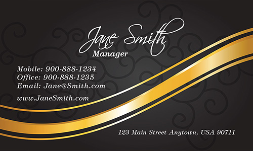 Black and Gold Spa Salon Business Card - Design #601173