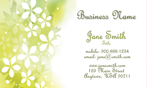 Green Floral Theme Spa Salon Business Card - Design #601321