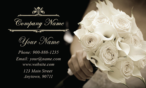 Black and White Wedding Bouquet Business Card - Design #701101