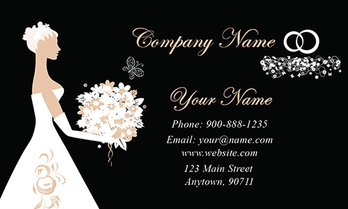 Black Wedding Coordinator Business Card - Design #701201