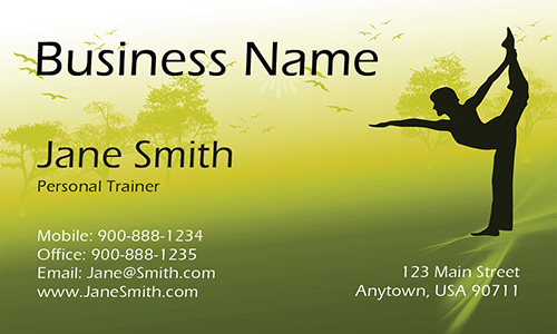 Hot Yoga Green Business Card - Design #801061