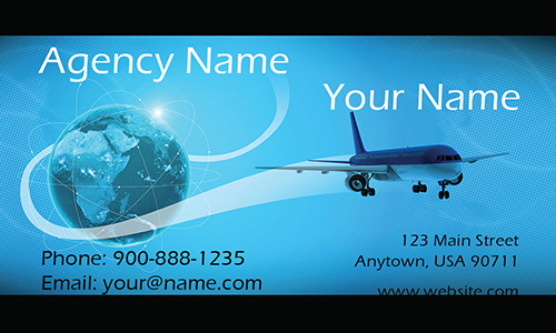 Airplane and Globe Travel Agent Business Card - Design #901051