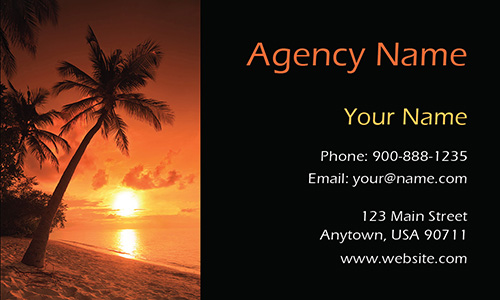 Palm Tree Sunset Tourism and Travel Agency Business Card - Design #901111