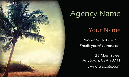 Vintage Palm Tree Travel Agency Business Card - Design #901121